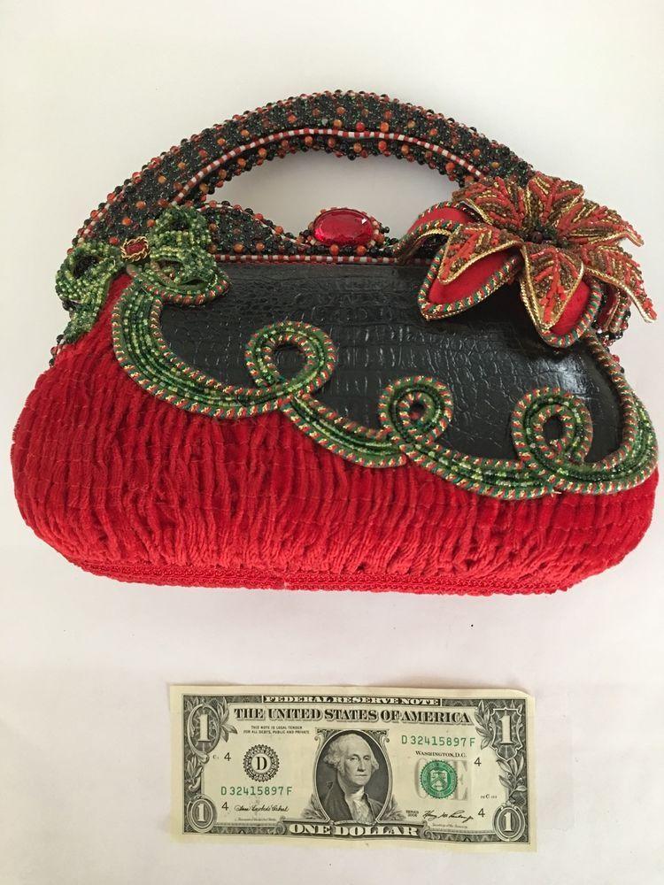 nwot mary frances beaded christmas bag red green flower poinsetta ribbon holiday - Christmas Purses Handbags