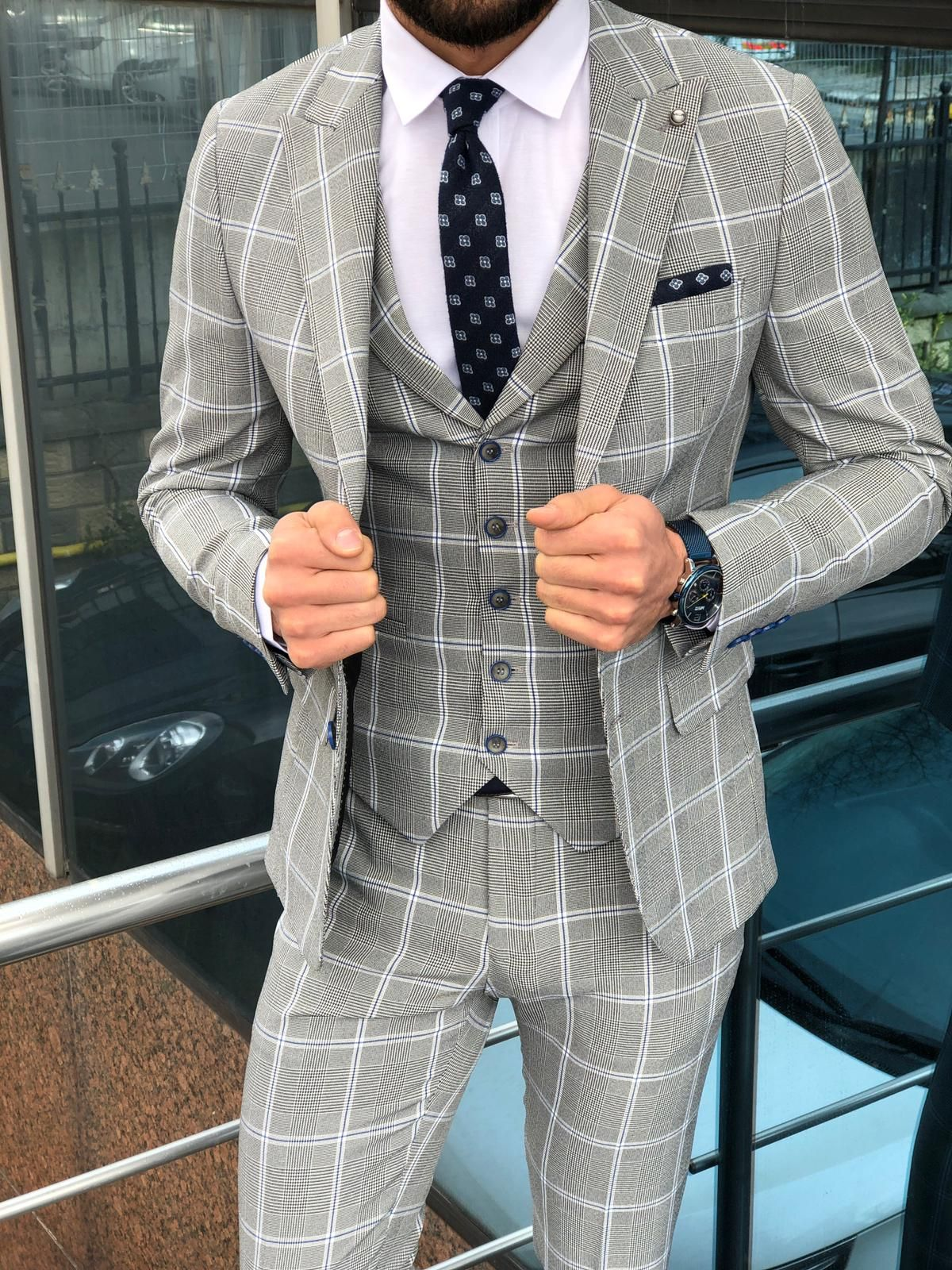 Buy gray slim fit plaid suit by with free