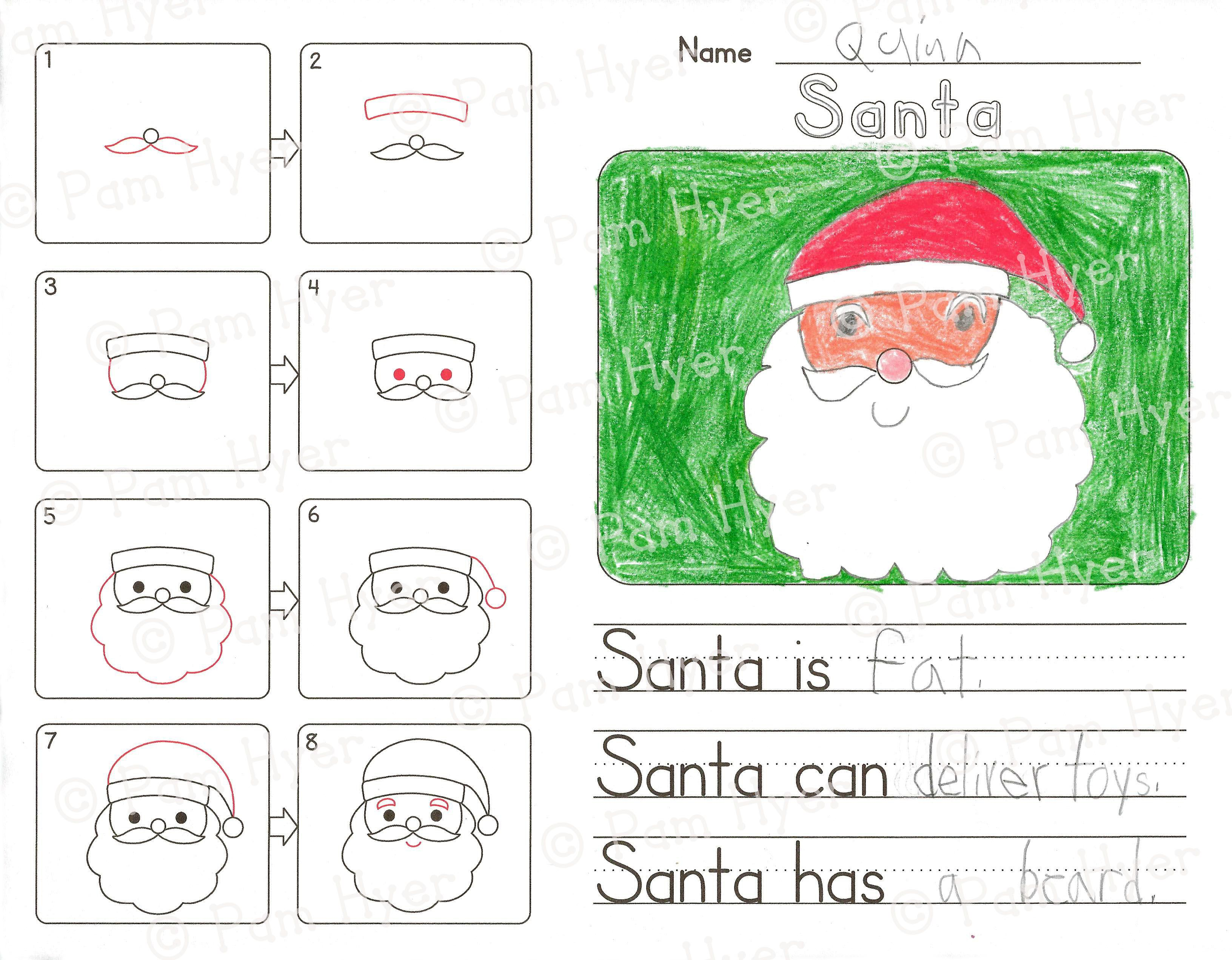 How To Draw Winter Christmas Directed Drawing Kindergarten Guided Drawing Kindergarten How To Draw Santa