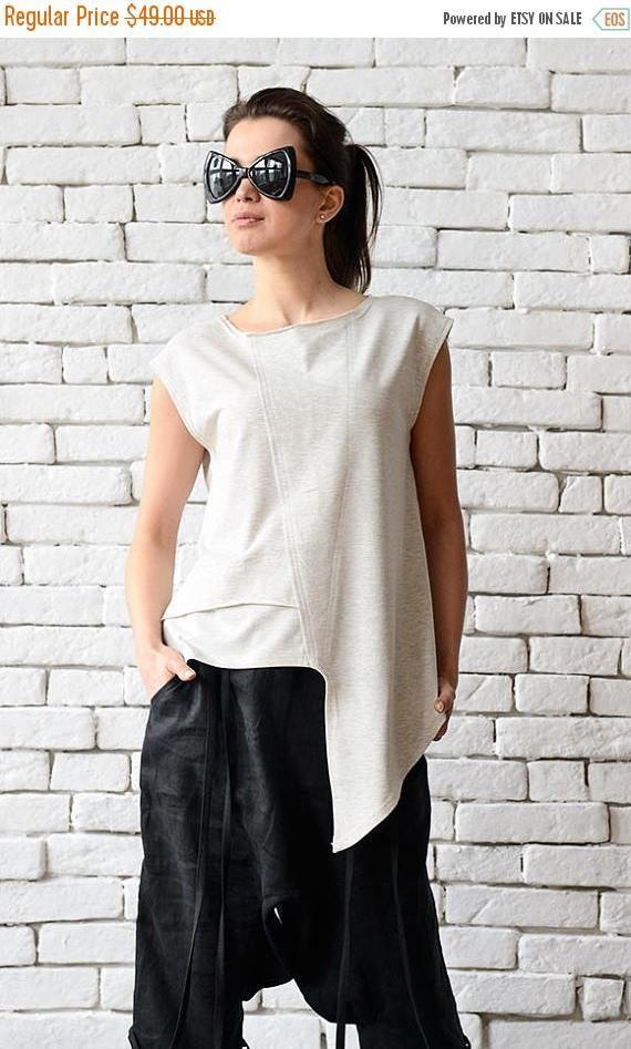 b13c66ae SALE Off White Asymmetric Top/Extravagant Sleeveless Sleeveless Tunic, Asymmetrical  Tops, Black Linen