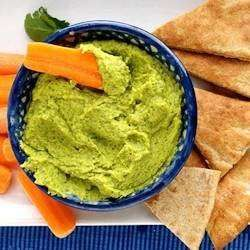 Hummus with cilantro and lime.
