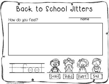 Back to school writing for kindergarten kindergarten for First day jitters coloring page