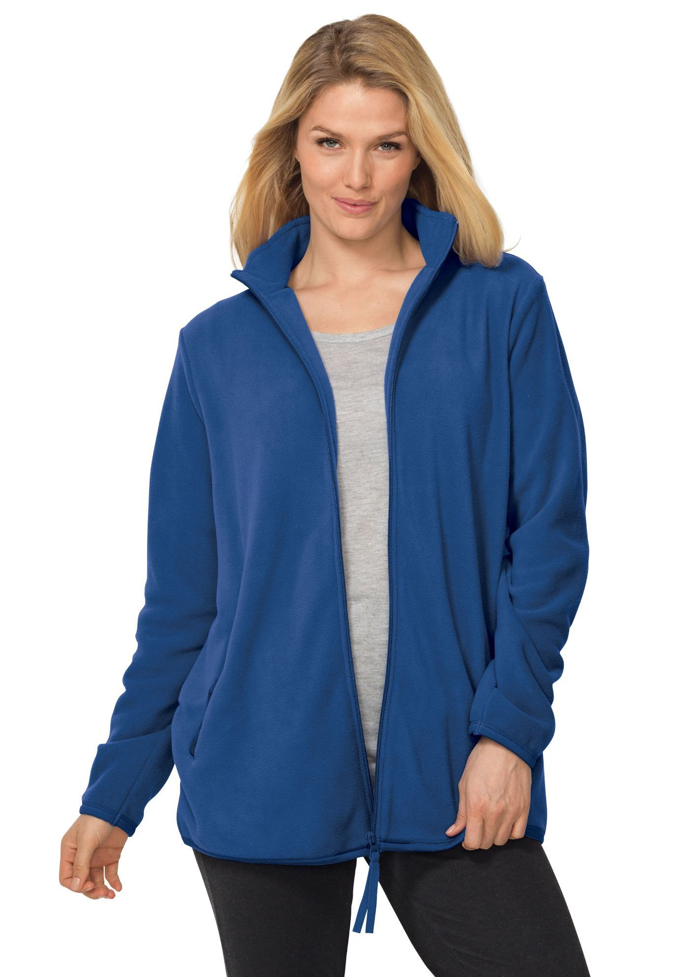 Cozy zipfront jacket in antipilling fleece womenus plus size