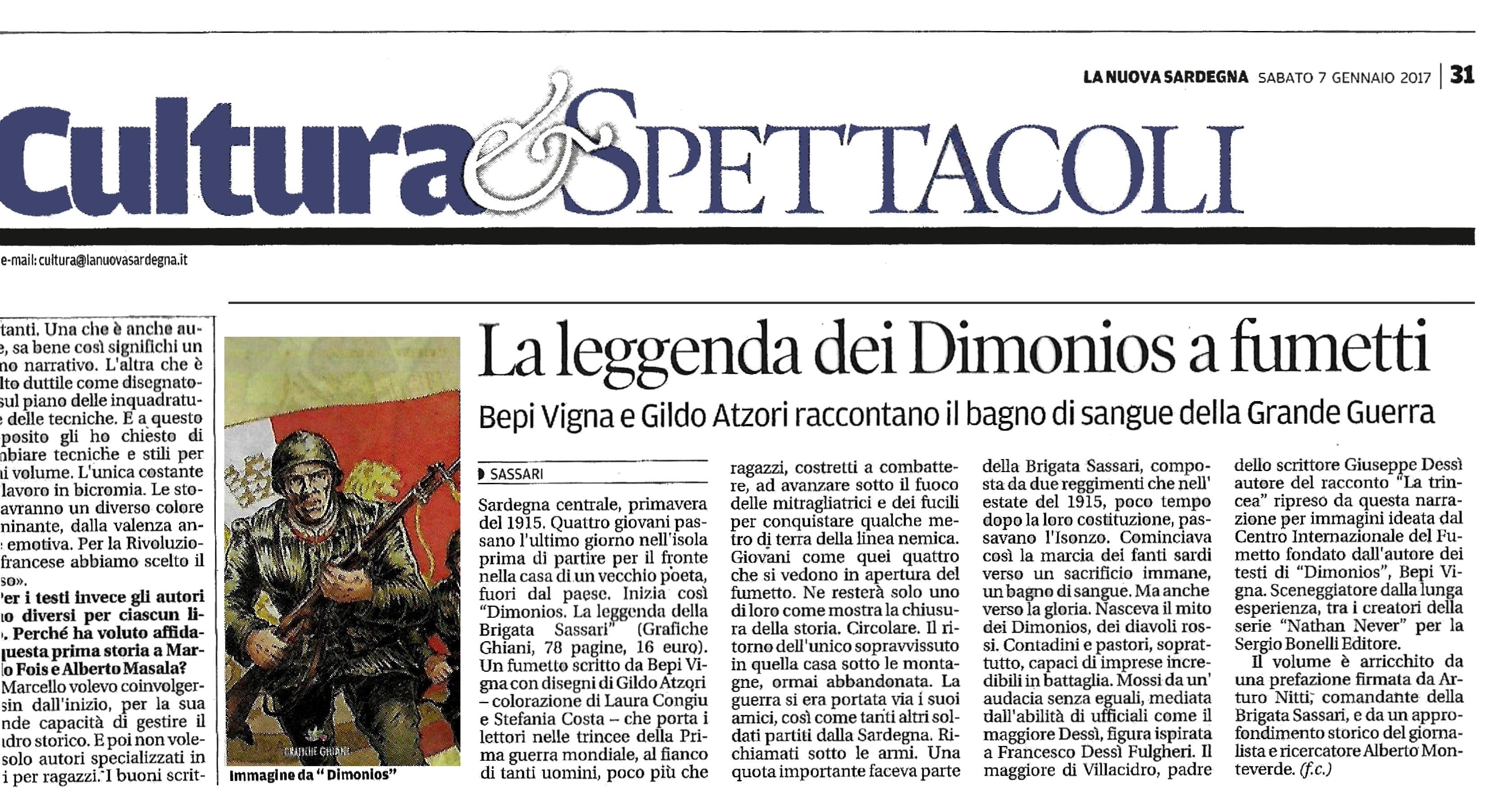 """La Nuova Sardegna, 7 gennaio 2017. """"La leggenda dei Dimionios a fumetti""""."""