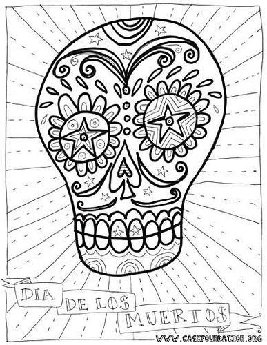 dia de los muertos sugar skull coloring pages for kids ...