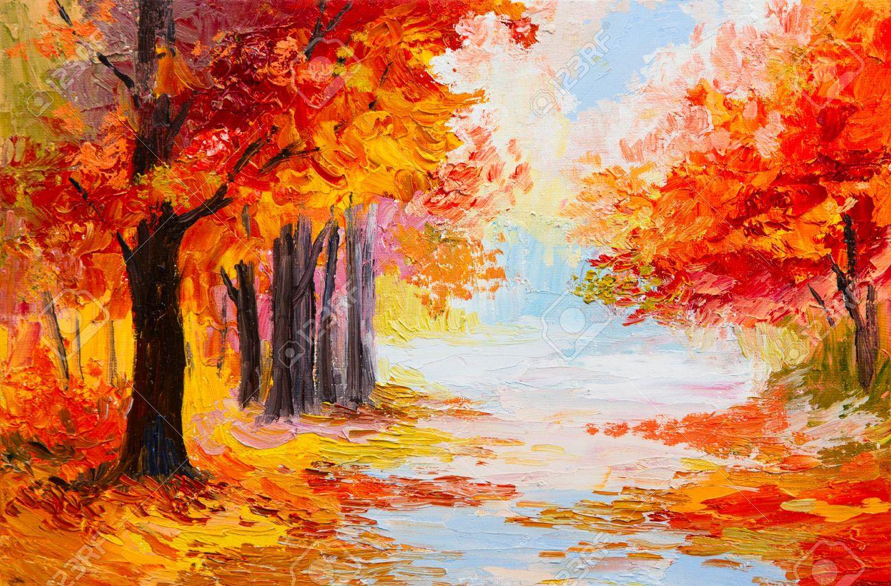 Stock Photo | Paysage foret, Peinture et Paysage automne dessin