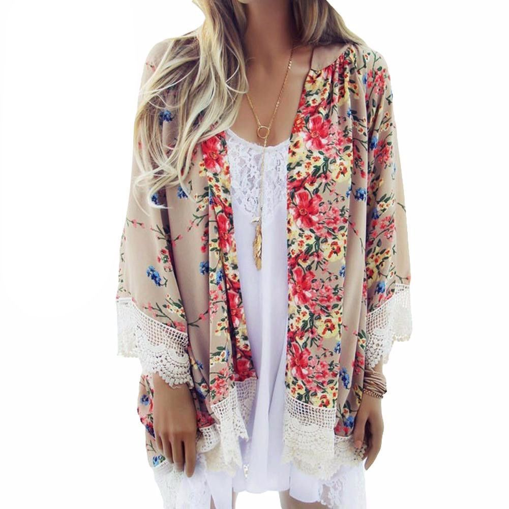 Floral Print Lace Blouse V Neck Batwing Sleeve Casual Beach Kimono ...