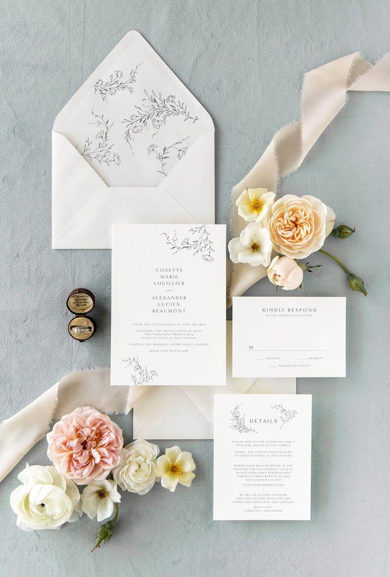 Elegant Wedding Invitations Romantic Wedding Invitation Etsy In 2020 Wedding Invitations Romantic Etsy Wedding Invitations Floral Wedding Invitations