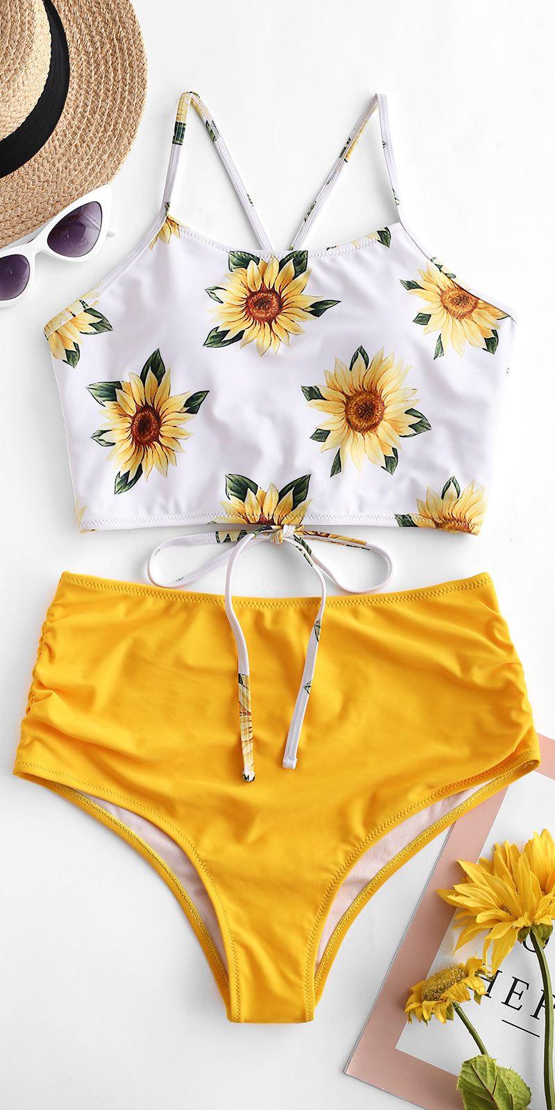 90262f008a ZAFUL Crisscross Ruched Sunflower Tankini Set - Bright Yellow Style: Cute  Swimwear Type: Tankini