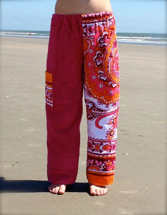 b6dd0f60d5 Orange Paisley and Pink Towel Pants by DrylandApparel on Etsy, $37.50