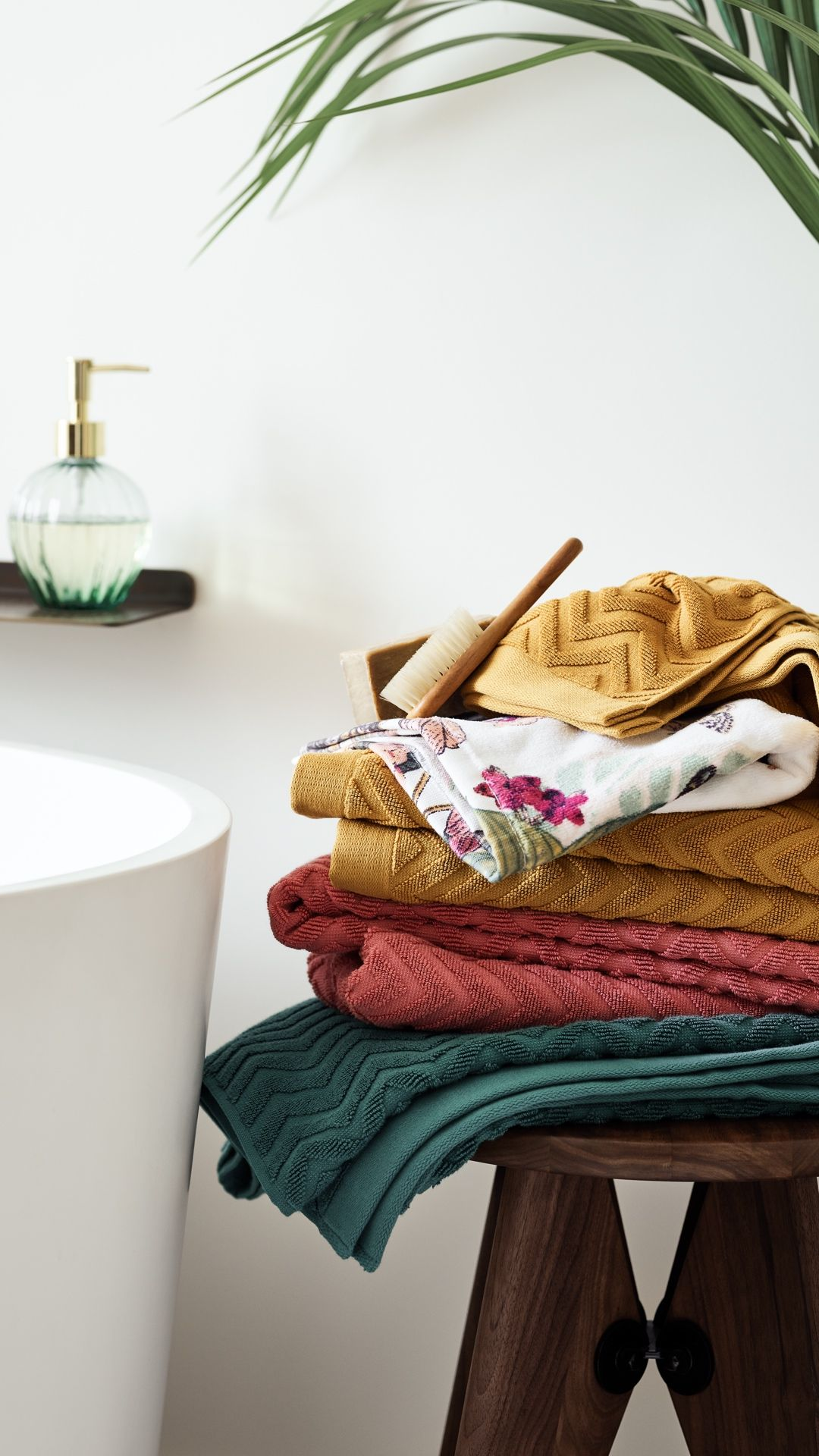 H M Home Add Some Colour To Your Bathroom With Plush Towels In Vidid Green Mustard Yellow And Raspberry Red Plush Towel H M Home Red Towels