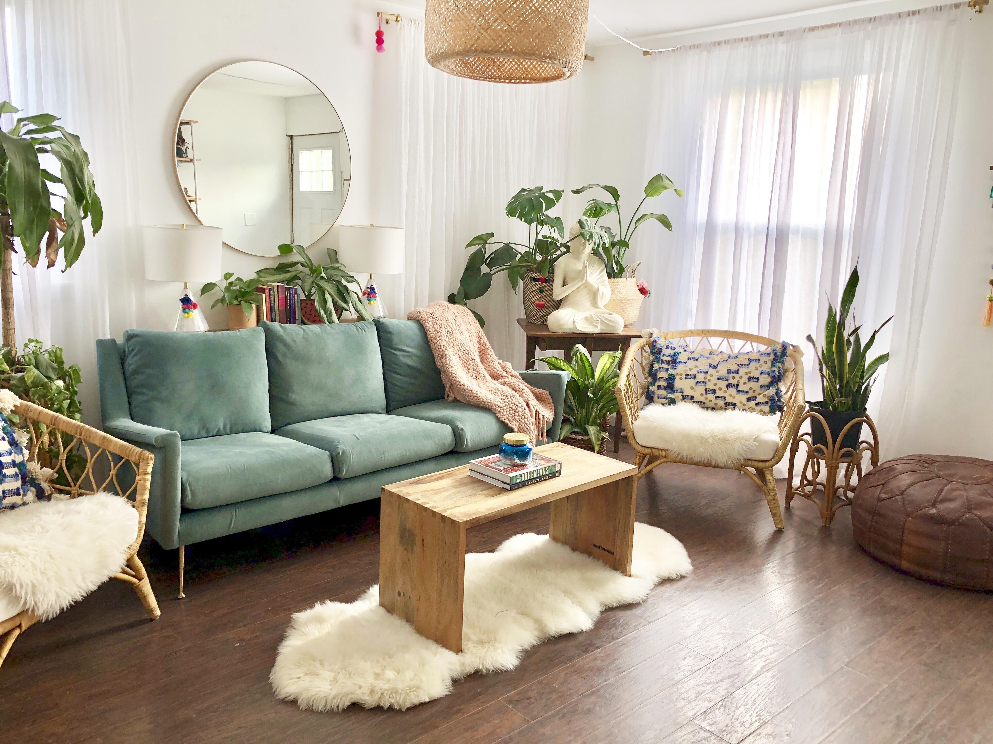 Light and bright, plant filled living room in Nashville, TN