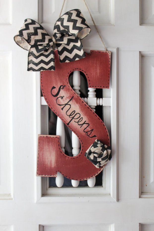 Gentil Initial Door Hanger With Chevron Burlap   Distressed Door Hanger, Monogram  Door Hanger, Initial, Monogram, Door Decor, Initial Wreath