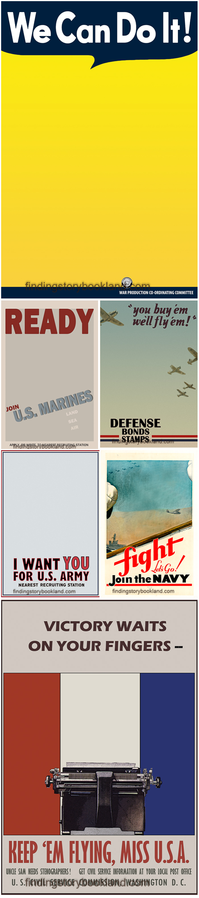 A Set Of 11 Free Able Vintage Wwii Propaganda Poster Background Photo Templates Perfect For Anyone To Make Your Own Personalized