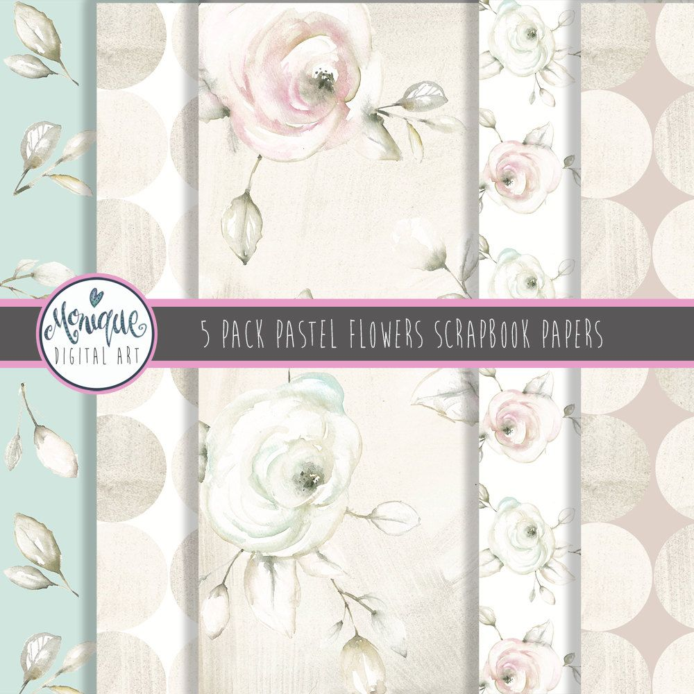 Digital paper pastel watercolor flowers scrapbooking paper set pastel watercolor flowers scrapbooking paper set by moniquedigitalart on etsy mightylinksfo