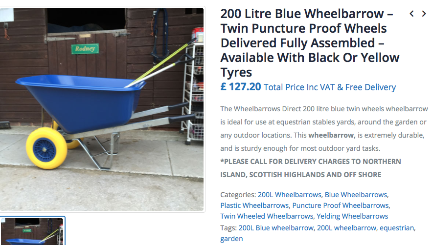 delivered fully assembled wheelbarrow 200l blue Puncture-Proof wheels wheelbarrow