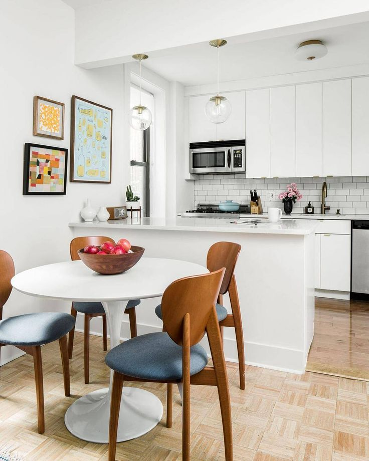 Mid Mod Dining Chairs With A White Tulip Table Small Kitchen