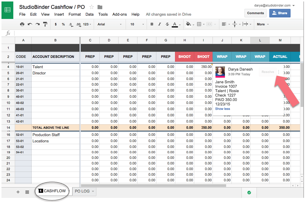 Film Budget Cashflow Template and P.O. Log | Template, Films and ...