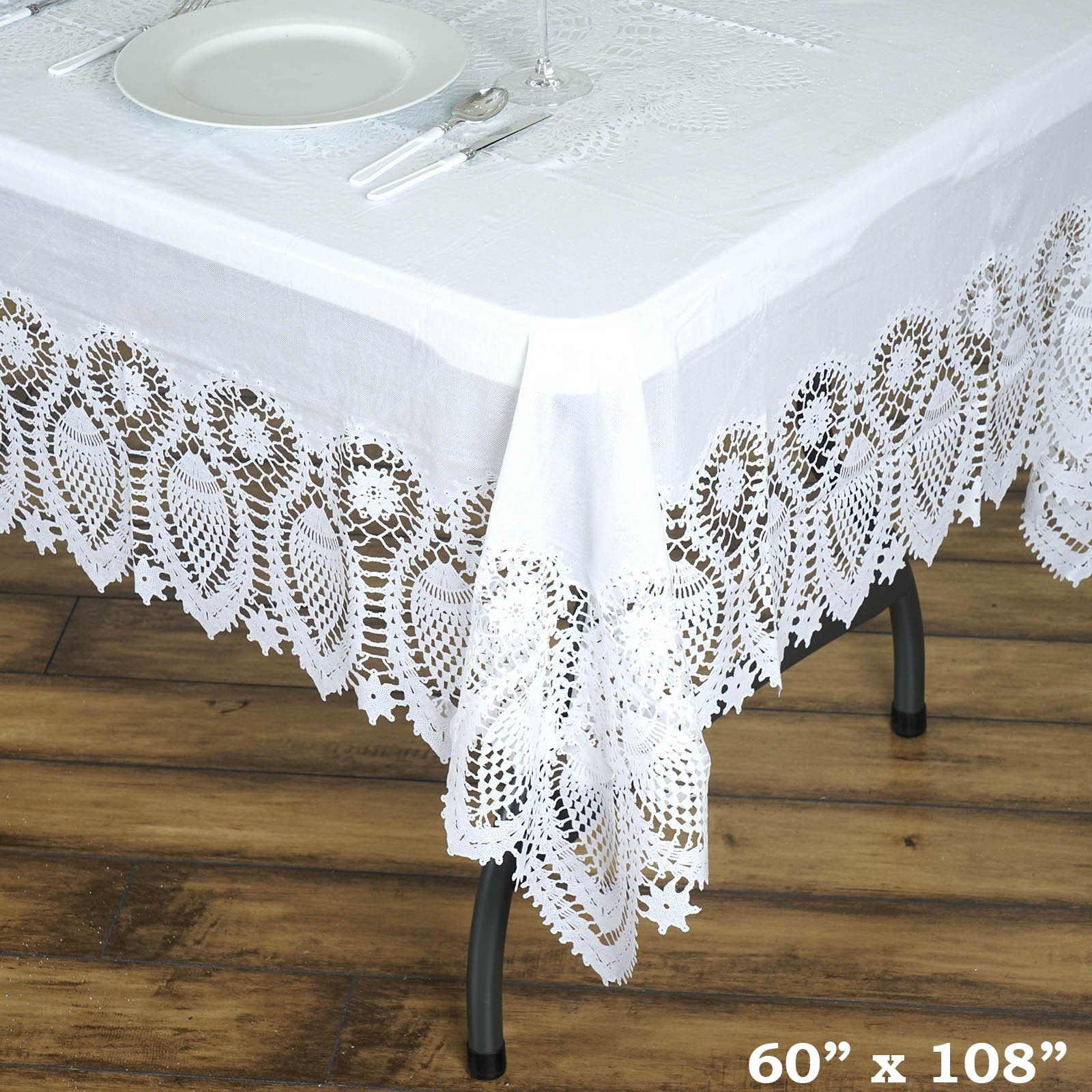 60 X108 Eco Friendly White 0 6mil Thick Disposable Waterproof Lace Vinyl Tablecloth Protector Cover