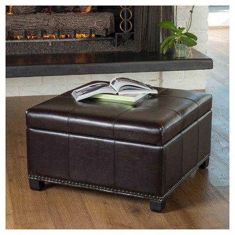 Shauna Espresso Leather Interior Tray Storage Ottoman - Espresso - Christopher Knight Home