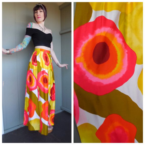 Vintage 1960's Bold Psychedelic Floral Abstract Hawaiian