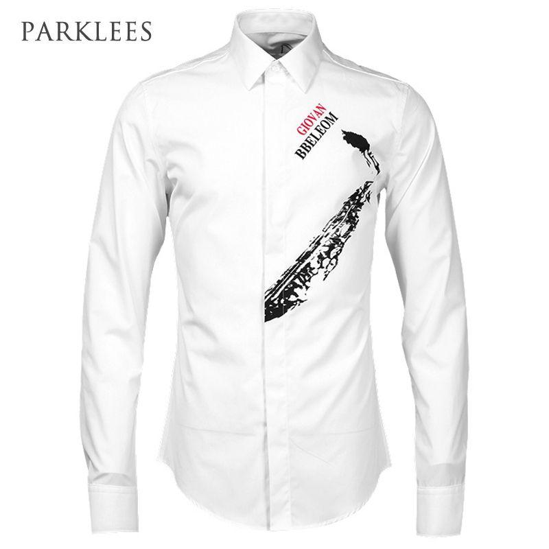 Click to Buy << Instrument Design Mens Dress Shirts Luxury 2017 Brand Shirt