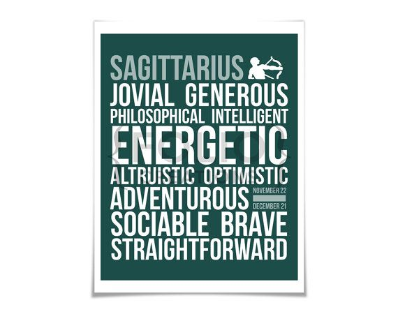 Sagittarius Personality Character Traits - Subway Art Print