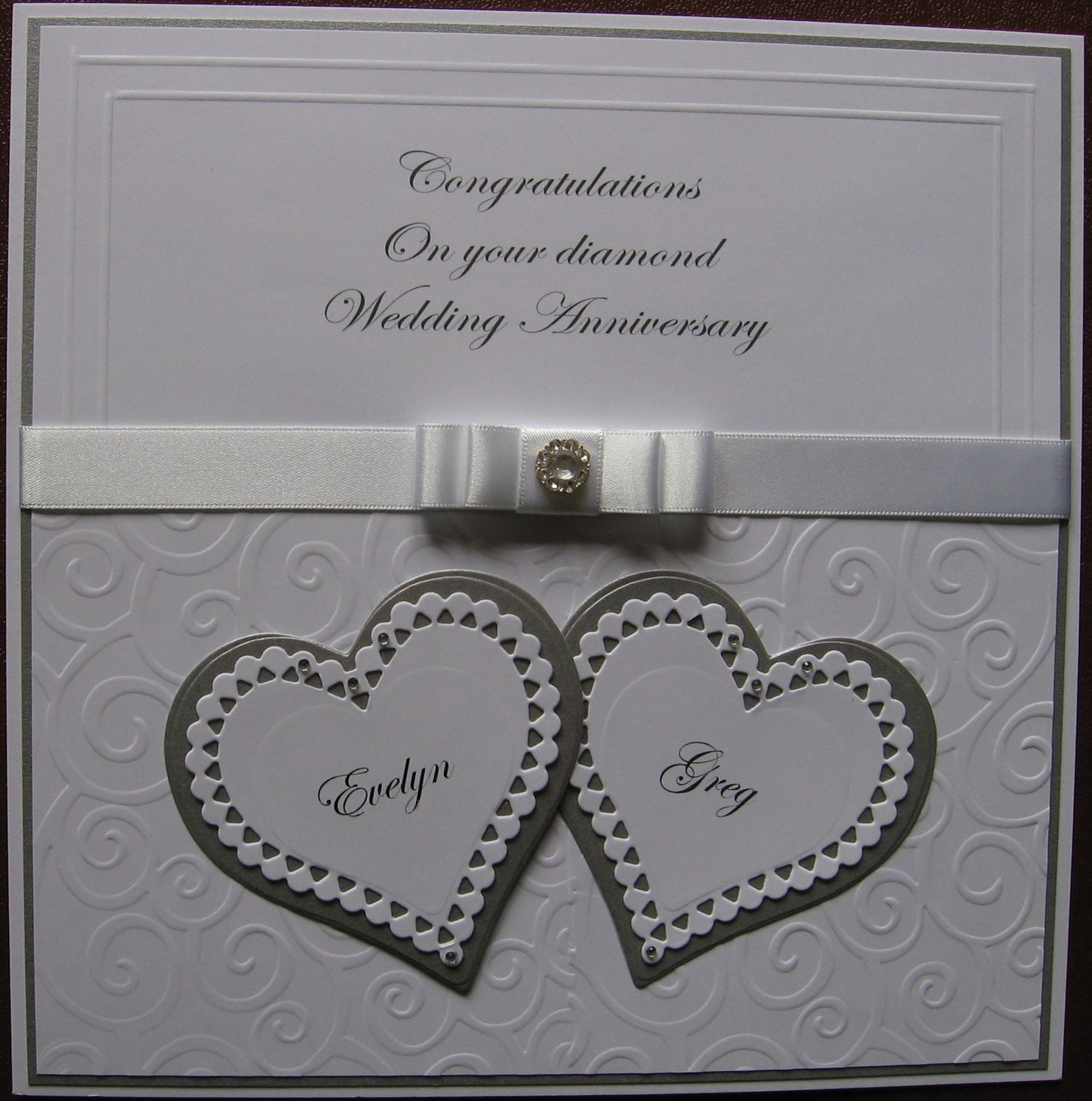 60th Wedding Anniversary Gifts For Friends: Card Made For A Friend On Her Diamond Wedding Anniversary