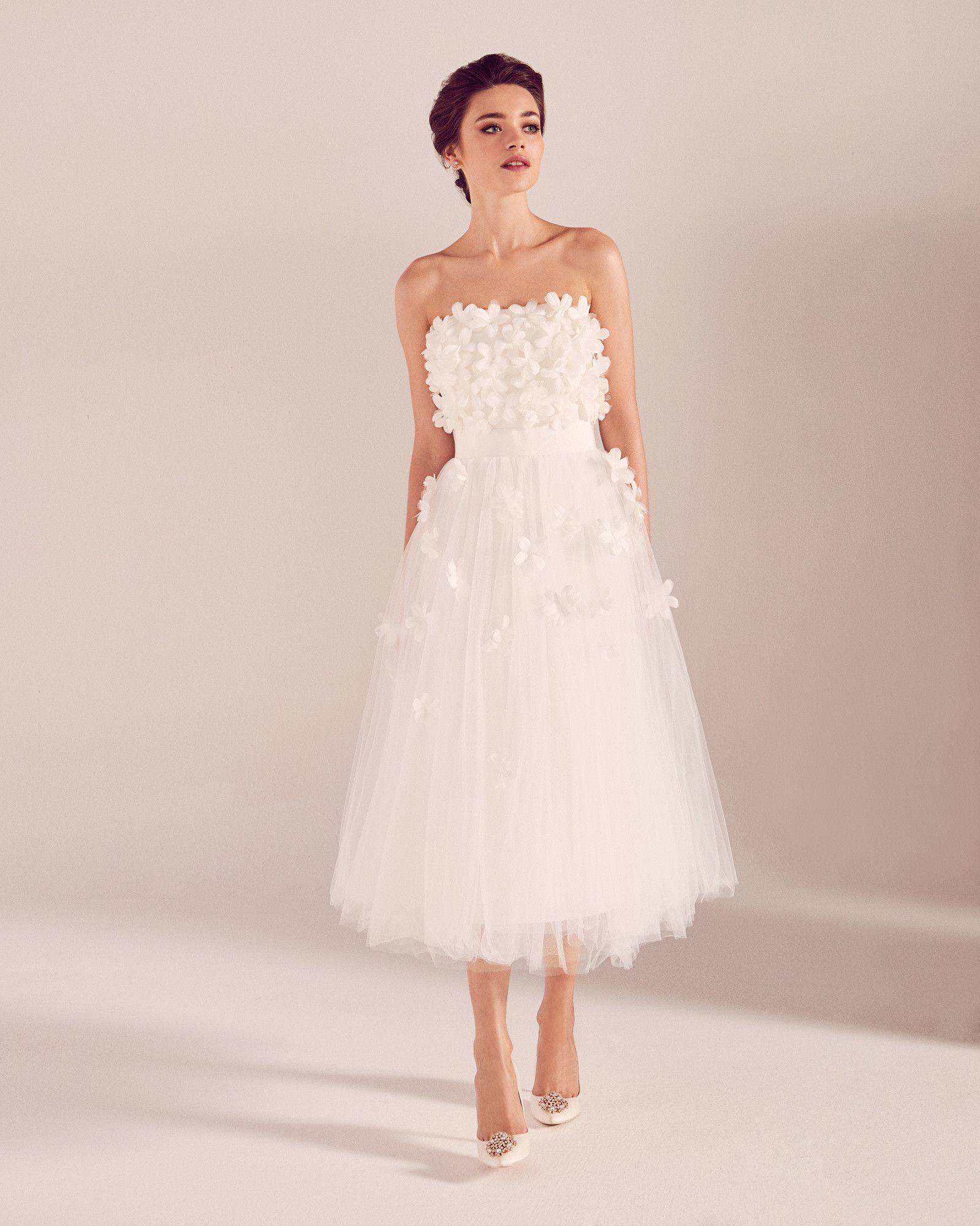 Floral Applique Tulle Bridal Dress White Wedding Dresses Ted Baker Uk Designer Outfits Woman Bridal Dresses Dresses