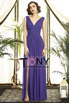 2013 Bridesmaid Dresses V Neck Floor Length Chiffon With Ruffles USD 109.99 TPP811L8C3 - TonyPromDresses.com