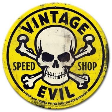 Vintage Evil Speed Shop Round Yellow Metal Sign 14 X 14