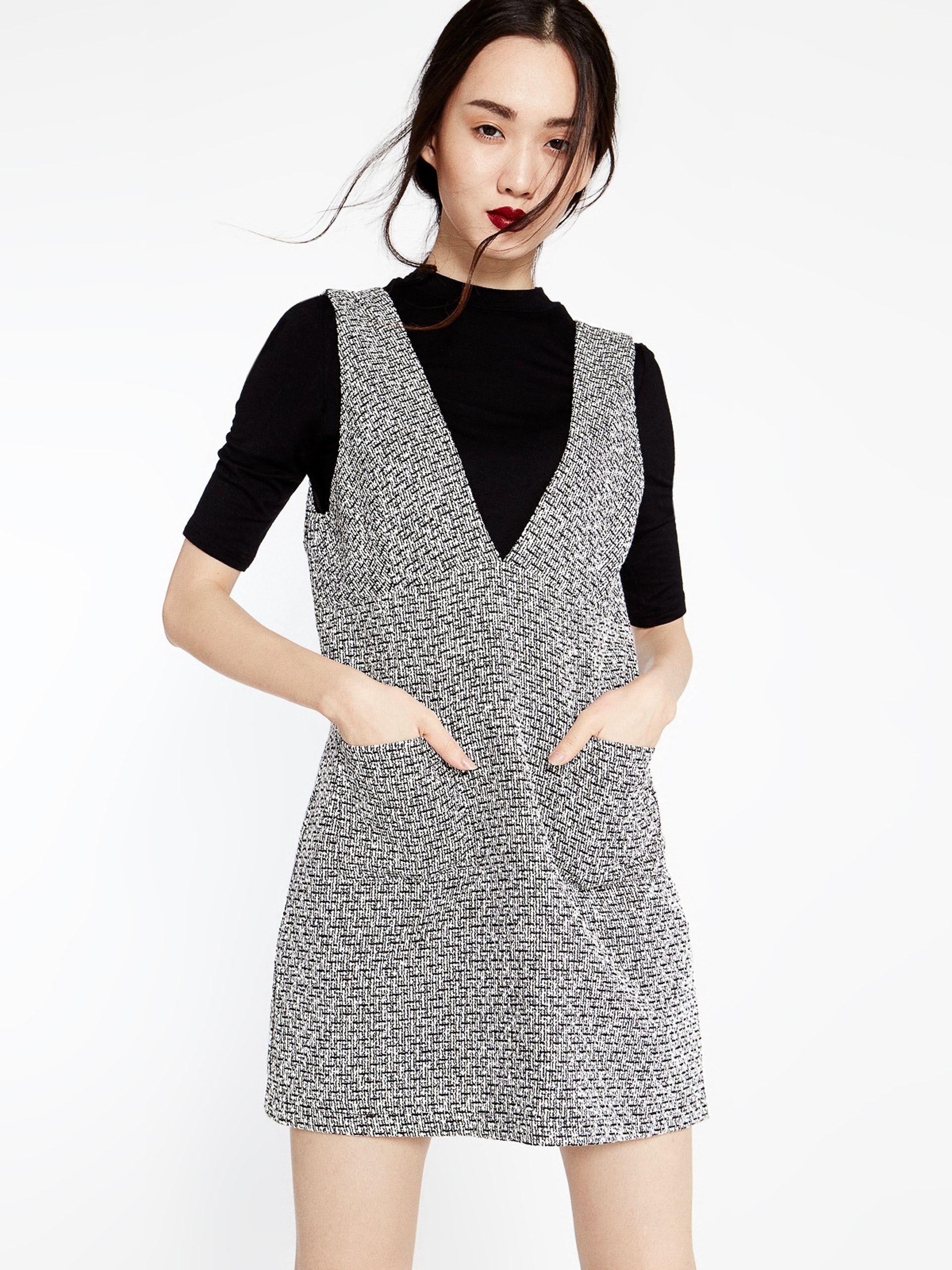 fb436c23a36 Karen Plunging Neck Tweed Dress - Pomelo
