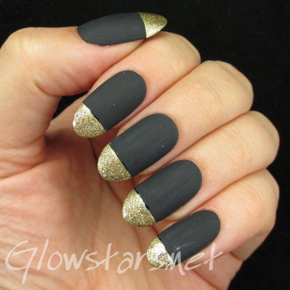 Matte black and gold glitter tips: a manicure using All That Jazz ...