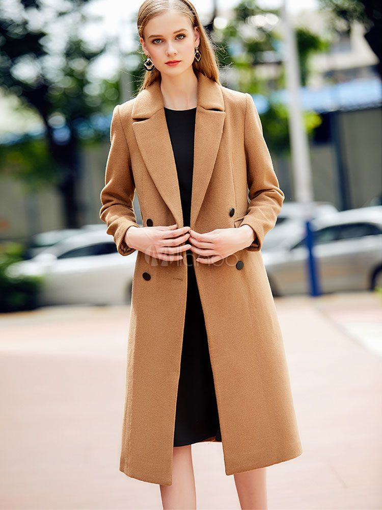 Women s Pea Coat Light Tan Long Sleeve Notch Collar Wool Coats in ... 03ab56625