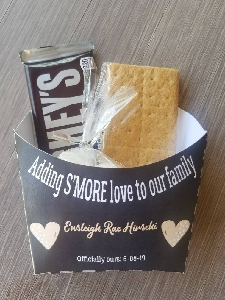 Adoption announcement party smores gift bag toppers
