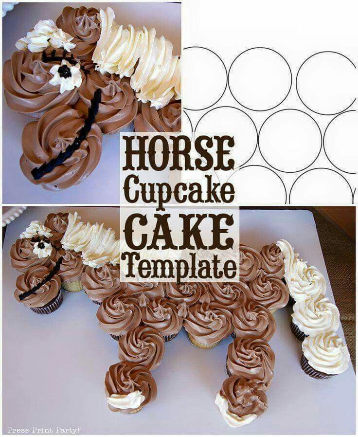 Horse Cupcake Cake How To w FREE template by Cake templates