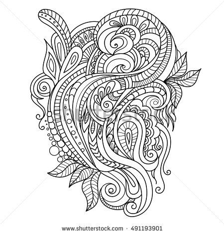 Hand Drawn Ornament With Floral Pattern For Coloring Book Adult Template Greeting