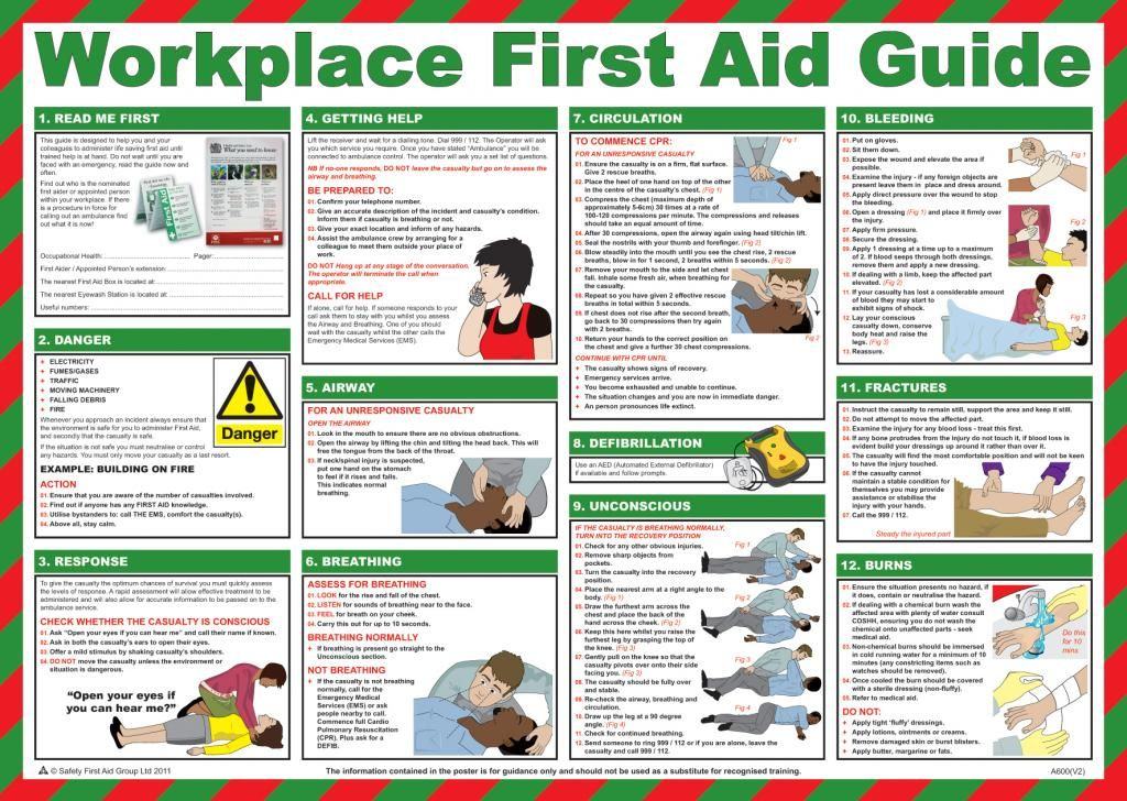 Workplace First Aid Guide Poster English UK | Emergencies ...