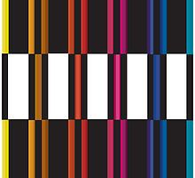 Colourful Stripes Behind Black And White by BakmannArt