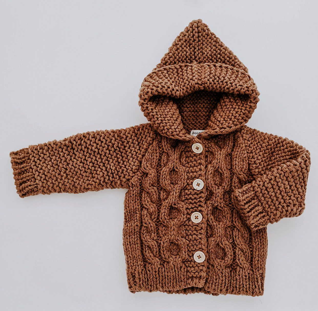 Photo of Knit Hooded Coat Sweater // Pecan