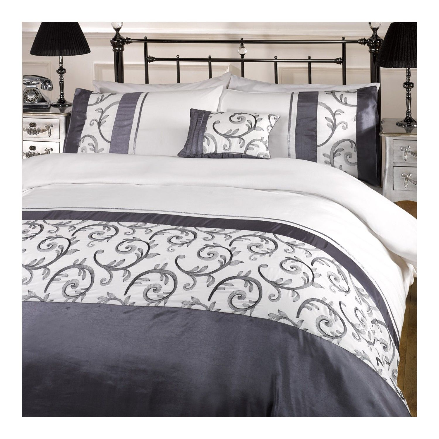 Nicola Charcoal Grey Bedding - Matching Cushions Available ...