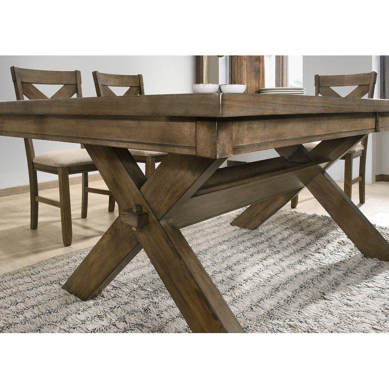 Poe Cross Buck Extendable Dining Table Farmhouse Dining Table