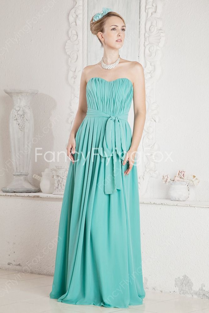 ff39f0378bb4 ... High Quality Discount Jade Green Chiffon Sweetheart Neckline A-line  Full Length Bridesmaid Dresses With Slit ,Priced At Only US$158.00 (Free  Shipping)