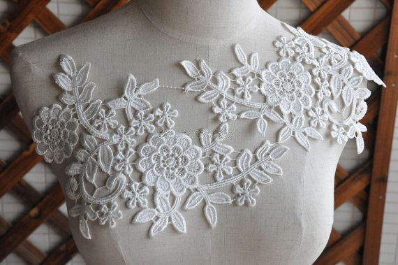 Lace applique in ivory crochet lace trim applique venice lace