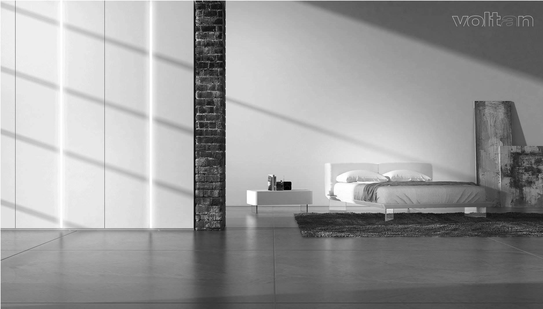Camera da letto moderna bianca: letto Oplà, testiera e giroletto in ...