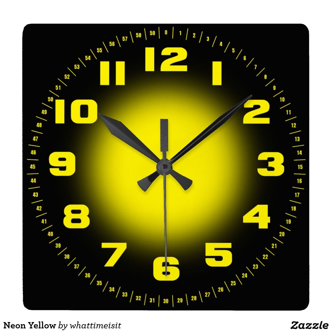 Neon Yellow Large Clock Yellow clocks