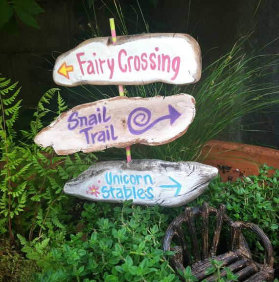 Garden Fairy Sign Post With 3 Signs Rustic Painted Signs Etsy Fairy House Diy Fairy Garden Houses Fairy Houses