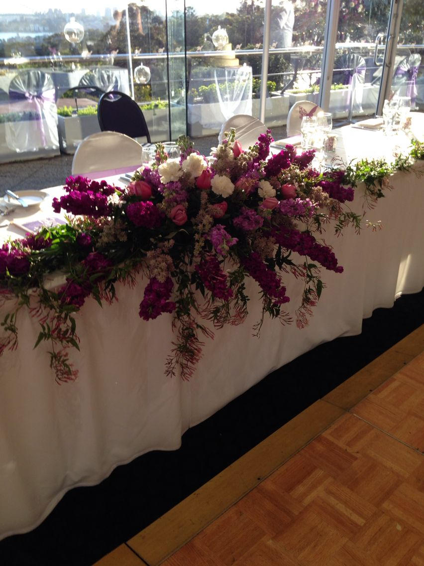 Bridal Table Flowers Cascading Waterfall Design Using Stock Roses