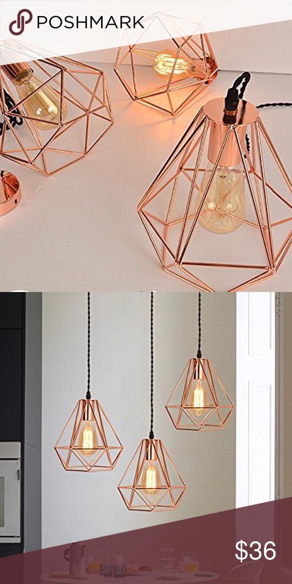 Rose Gold Copper Bronze Diamond Pendant Light Industrial Urban