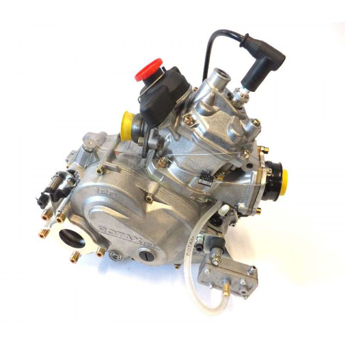 125cc Rotax DD2 Engine Specifications -- 2-stroke, 1 cylinder, Nikasil, Stroke: 54.5 mm x Bore: 54.00 mm;  Cooling System: Liquid cooling; Maximum speed: 14,000 rev / min Power: 24 kW / 32,6 hp at 11.750 1/min; Torque: 20 Nm at 10,500 1 / min; RPM: 13.800 1/min (limited); Weight: 16.8 kg; complete fuel mixture: 1:50 (2%) Noise: max. 88 db; Maintenance interval: 50 hours; Equipment: centrifugal clutch electric starter; Integrated Water Pump; Integrated thermostat